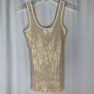 NWT Express cream colored sequined tank top, XS